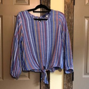 Striped Chambray Puffed Long Sleeved Blouse